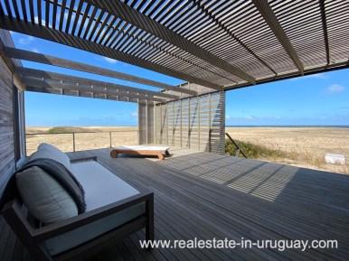 Terrace of Frontline Beach Home in San Antonio close to La Pedrera in Rocha with Sea Views