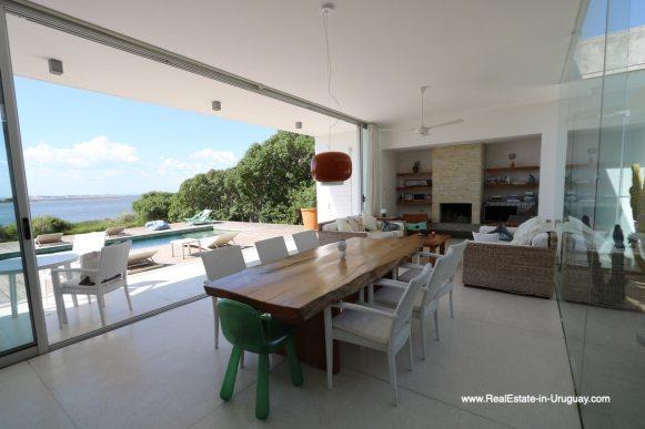 Dining Room of Modern Home in Santa Monica near Jose Ignacio on the Lagoon