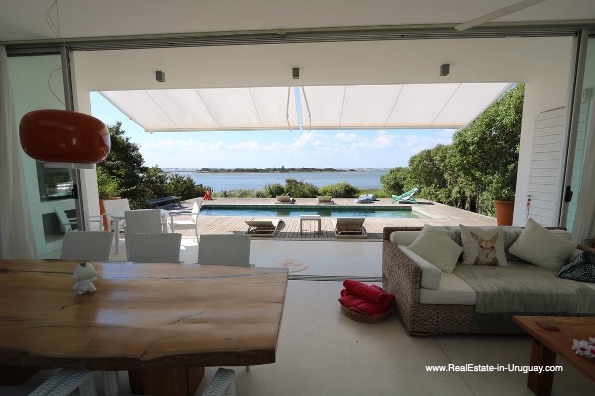 View from Living Room of Modern Home in Santa Monica near Jose Ignacio on the Lagoon