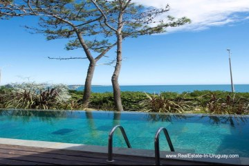 Pool and Views of Renovated Home Frontline on Playa Mansa in Punta del Este