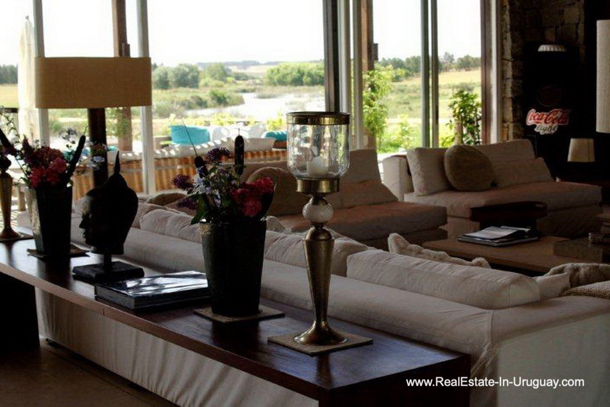 Living Room of Wonderful Ranch with a Vineyard behind La Barra and Manantiales