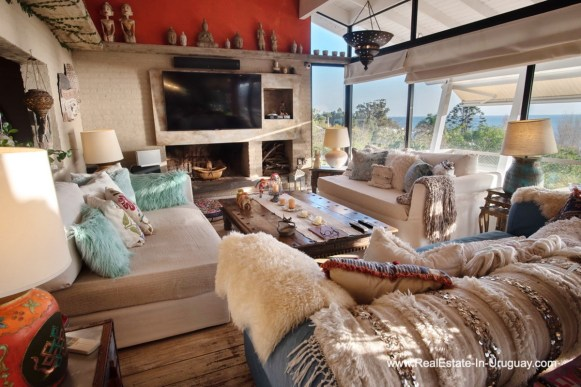Living Area of House on a Double Lot with Sea Views in Punta Ballena