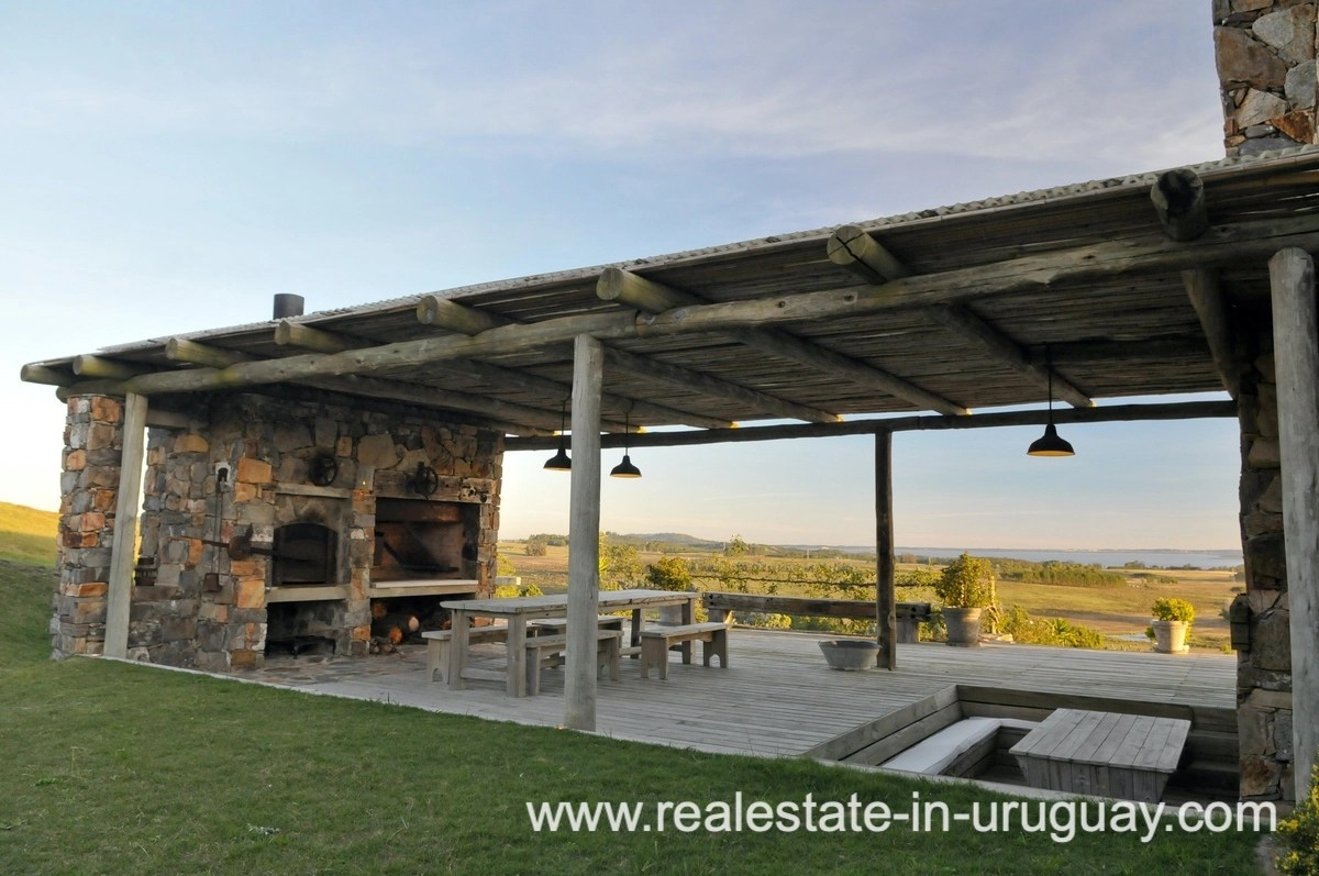 BBQ of Spectacular Farm situated on a Hill by Laguna del Sauce