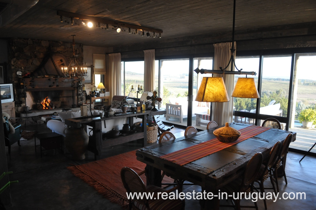 Dining Area of Spectacular Farm situated on a Hill by Laguna del Sauce