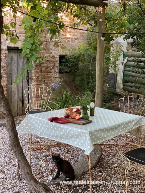 Gardne table of Cute House in Trendy Gourmet Town Garzon