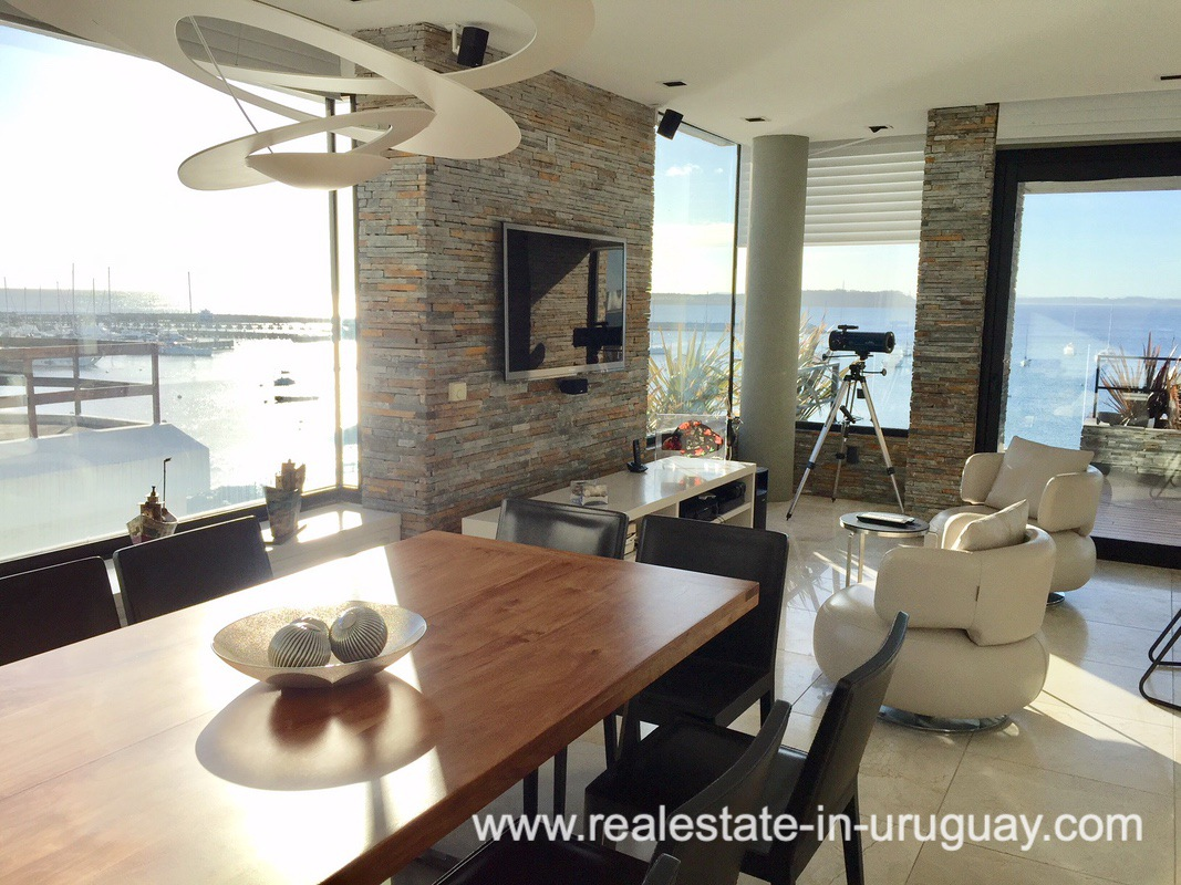 Dining Area of Penthouse by the Punta del Este Harbor