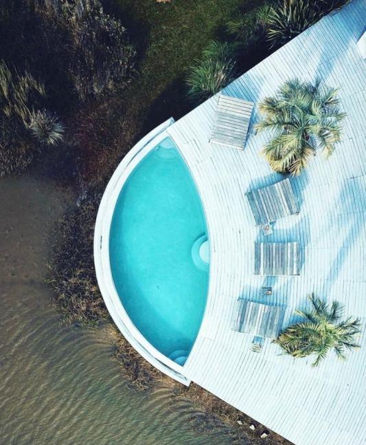 Aerial View Pool Mario Connio House on the Lagoon near Jose Ignacio