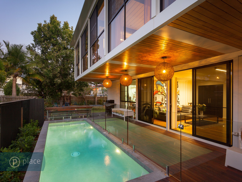 Shipping container house backyard