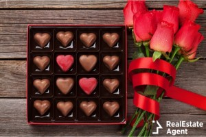 red roses and heart shaped chocolate