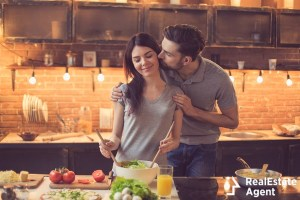 young beautiful couple in kitchen