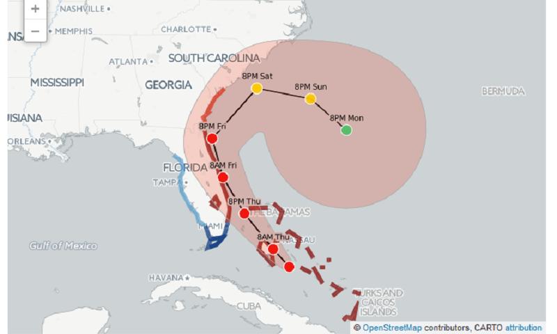 Hurricane Matthew Toward Florida Coastline