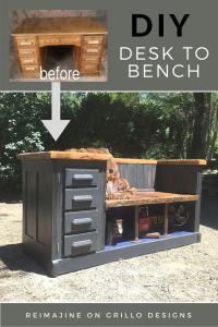 DIY desk to bench