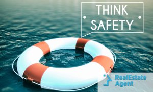 "floater on the water with ""think safety"" written on a speech bubble"