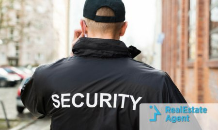 a private security guard patrols the neighborhood