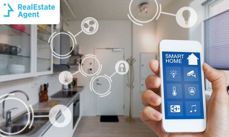 A smartphone controls several smart home devices in a house
