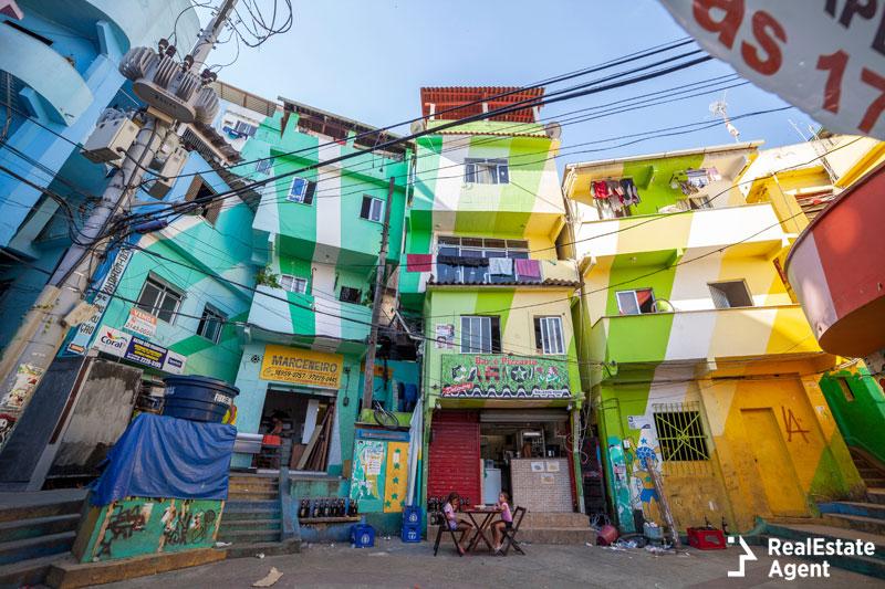 Favelas traditional houses in Rio de Janeiro