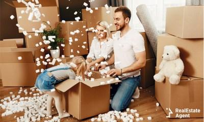 family having fun unpacking