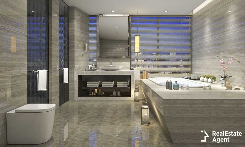 beautiful modern bathroom with grey stone tiles