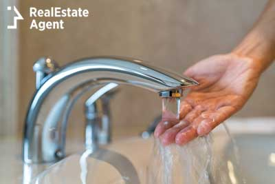 modern bathroom taps with running water