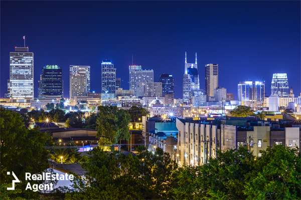 beautifull night view of Nashville TN