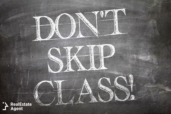 don't skip class text on a black board