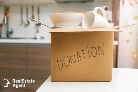 Donation box full of plates