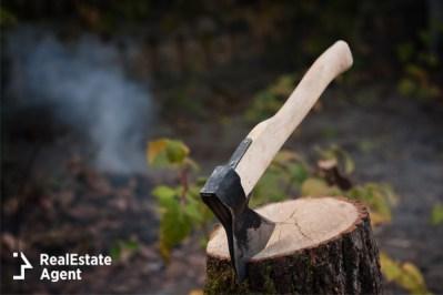 Hatchet stuck in wood