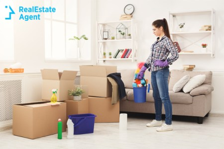 Woman surveying cleaning task