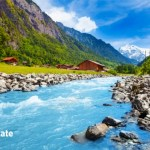 swiss landscape with river
