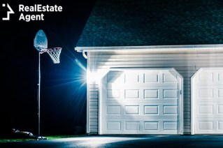 garage basketball hoop at night