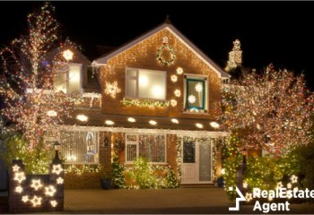christmas lights outside of a house
