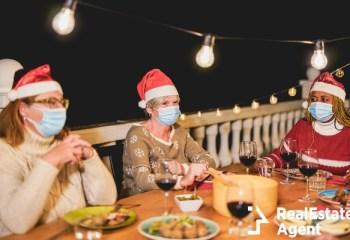 multiracial senior people celebrate christmas together