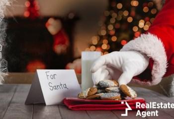 santa claus hand putting cookies