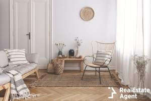 armchair rug next to bench