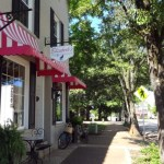 north carolina shops line the sidewalks of downtown cary