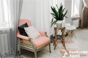 vintage mid century wooden pink armchair