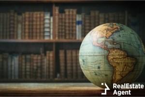 old globe on bookshelf background