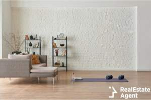 training at home concept grey sofa