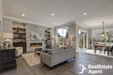 living room interior design in gray an brown