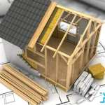 3d illustration of modern frame house project model