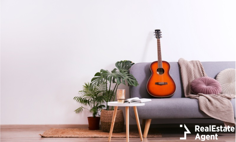 Guitar on couch