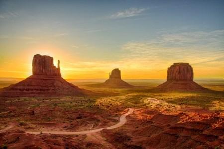 sunrise view of monument valley arizona