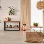 Earth tones home interior sofa table