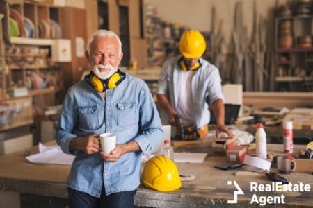 Elderly man working in construction
