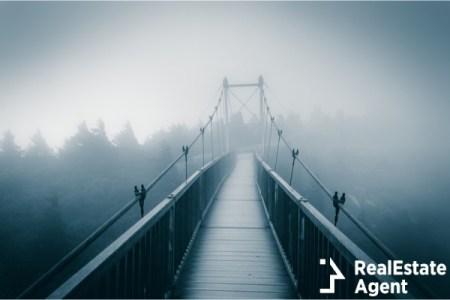 Mile High swinging bridge in fog