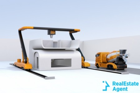 concrete mixer truck the side of industrial 3d printer