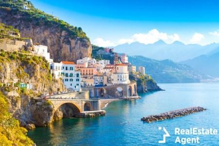 morning view of amalfi coast line