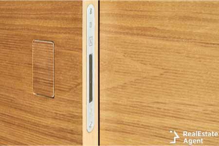 Invisible door hidden handle walnut