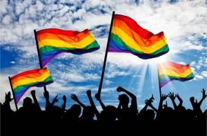 Silhouette parade gays lesbians rainbow