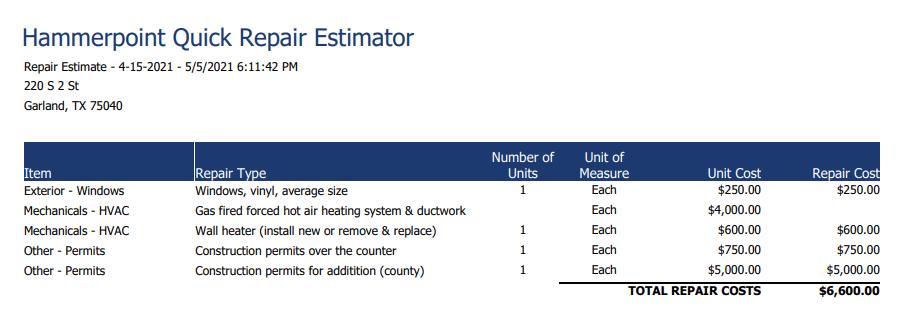 realeflow repair estimator